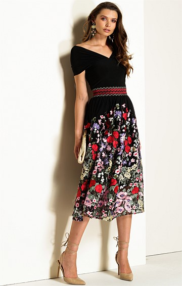 CARMEN 2 PIECE MESH DRESS SET WITH JERSEY SLIP IN BLACK EMBROIDERED FLORAL