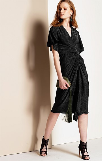 TOSCA FITTED STRETCH CAP SLEEVE V-NECK KNEE LENGTH DRESS IN BLACK LUREX