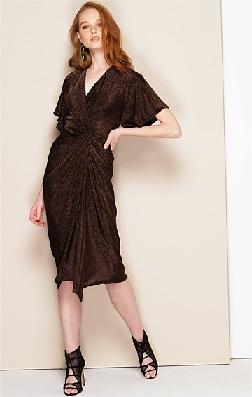 TOSCA FITTED STRETCH CAP SLEEVE V-NECK KNEE LENGTH DRESS IN DARK CHOCOLATE LUREX