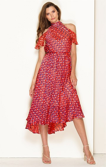 CRETIAN CRUISE HIGH NECK CUT OUT SHOULDER SILK RAYON BURNOUT MIDI DRESS IN RED PINK MINI POPPY PRINT