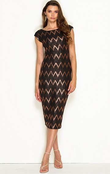 FORTITUDE FITTED STRETCH BOAT NECK CAP SLEEVE KNEE LENGTH DRESS IN BRONZE LUREX ZIG ZAG