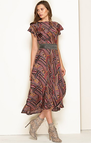 FRANCO ELASTICATED WAIST A-LINE MIDI SKIRT IN PLUM MULTI PRINT