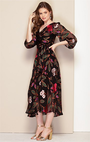 SARAH BISHOP SLEEVE V-NECK A-LINE SILK BURNOUT WRAP DRESS IN ORIENTAL FLORAL