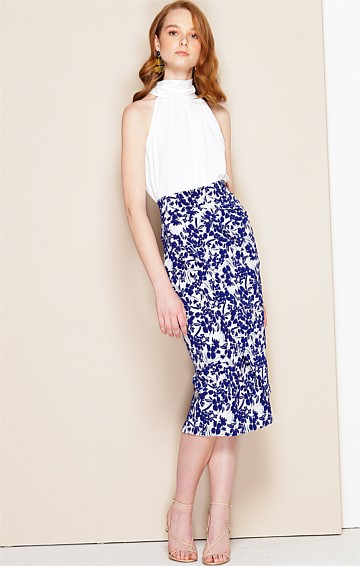 ISOLDE FITTED KNEE LENGTH SKIRT IN BLUE IVORY FLORAL
