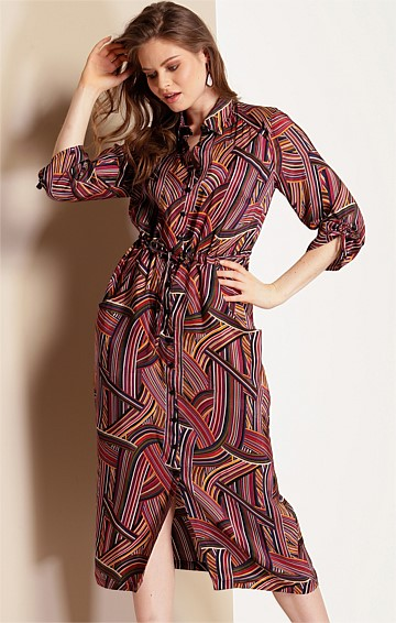 BORN TO RUN BUTTON DOWN SHIRTMAKER DRESS IN PLUM MULTI PRINT