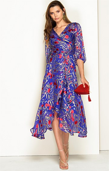 LA TRAVIATA BISHOP SLEEVE V-NECK A-LINE SILK BURNOUT WRAP DRESS IN ROYAL POPPY
