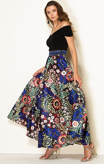 MARIA CALLAS HIGH WAIST ELASTICATED BELT A-LINE MAXI SKIRT IN RUSSIAN FOLK ART