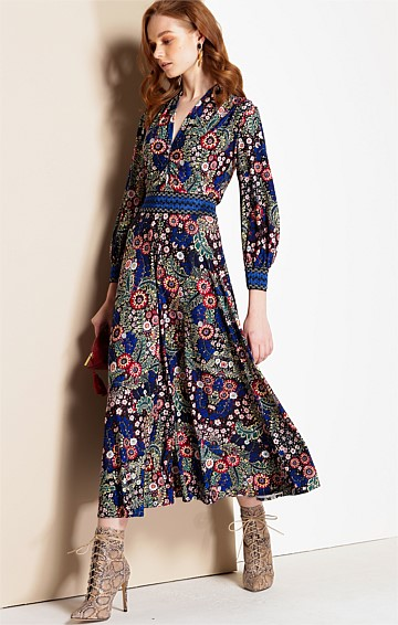 MON COEUR STRETCH JERSEY V-NECK A-LINE MIDI DRESS IN RUSSIAN FOLK ART PRINT