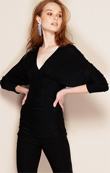 GRACE STRETCH JERSEY 3/4 SLEEVE V-NECK TOP IN BLACK LUREX