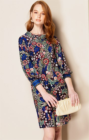 PASOLINI 3/4 SLEEVE LOOSE-FIT KNEE LENGTH SHIFT DRESS IN RUSSIAN FOLK ART PRINT