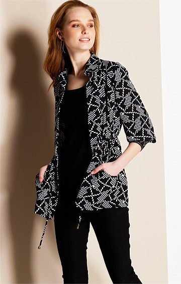 TULLIO BUTTON DOWN LOOSE FIT SHIRT IN BLACK WHITE GEO PRINT
