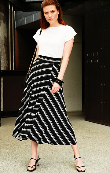 A-LINE STRETCH JERSEY MIDI SKIRT IN BLACK WHITE STRIPE