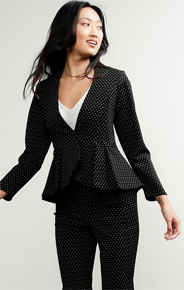 PUCCINI STRETCH JACQUARD FITTED LONG SLEEVE V-NECK JACKET IN BLACK WHITE SPOT