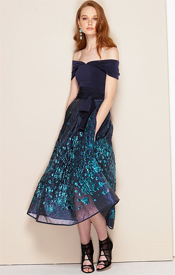 CAVELLERIA 2 PIECE LUREX ORGANZA DRESS SET WITH JERSEY SLIP IN NAVY TURQUOISE FLORAL