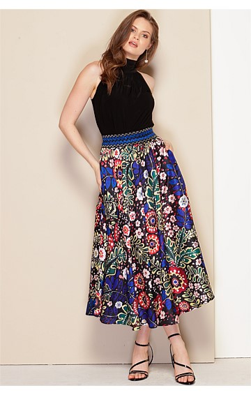 MARIA CALLAS HIGH WAIST ELASTICATED BELT A-LINE MIDI SKIRT IN RUSSIAN FOLK ART