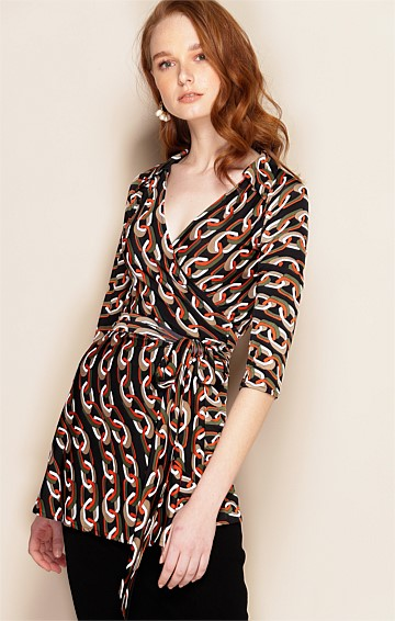 GABRIELLA 3/4 SLEEVE STRETCH V-NECK WRAP TUNIC IN KHAKI RUST LINK PRINT
