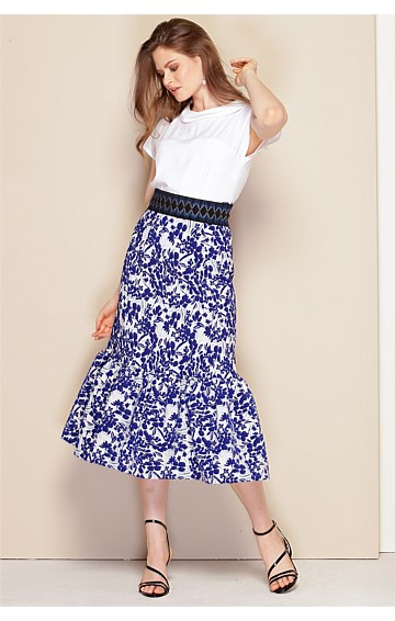 LADIES PAVILLION A-LINE MIDI SKIRT WITH FRILL HEMLINE IN BLUE IVORY FLORAL