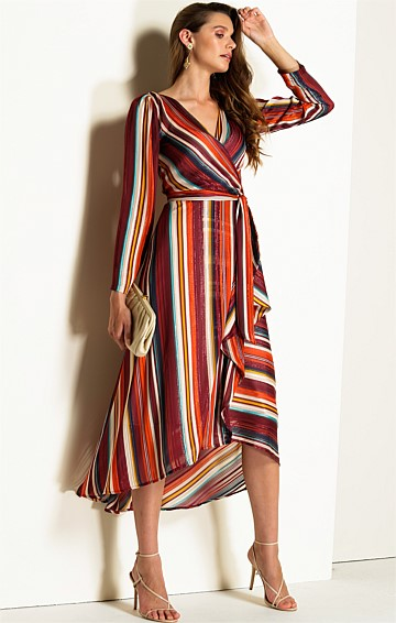 GOMA LONG SLEEVE CHIFFON V-NECK A-LINE WRAP DRESS IN LUREX MULTI STRIPE