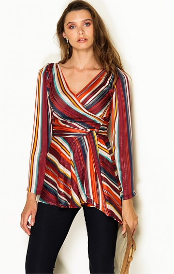 AIDA LONG SLEEVE CHIFFON V-NECK WRAP TUNIC IN LUREX MULTI STRIPE
