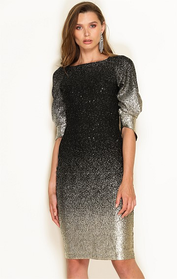 BELLINI FITTED 3/4 SLEEVE BOAT-NECK KNEE LENGTH DRESS IN METALLIC GOLD OMBRE