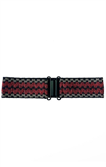 DECORATIVE ELASTICATED BELT IN RED GOLD BLACK