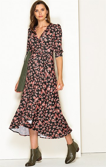 DONIZETTI 3/4 SLEEVE STRETCH JERSEY V-NECK A-LINE MIDI WRAP DRESS IN OLIVE ORANGE BLOSSOM PRINT