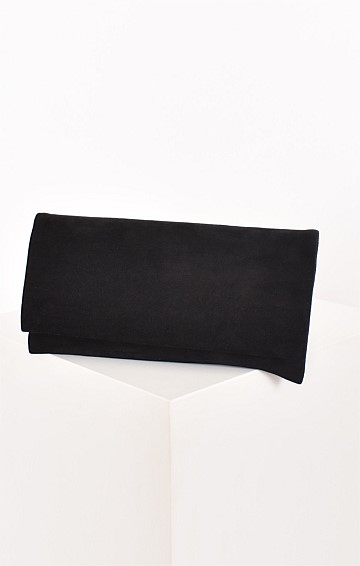 MICRO SUEDE FOLD OVER CLUTCH BLACK