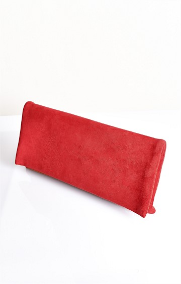MICRO SUEDE FOLD OVER CLUTCH RED