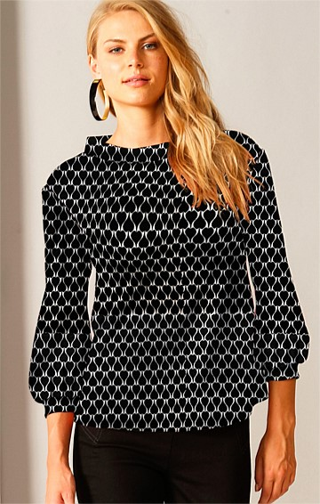 EXPRESS YOURSELF STRETCH LONG SLEEVE TOP IN BLACK WHITE LOVEHEART JACQUARD