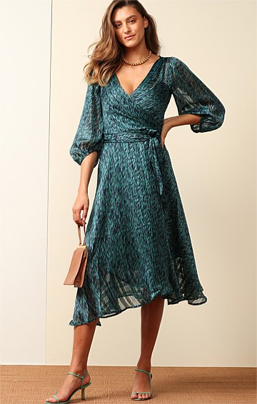 BARONESS BISHOP SLEEVE V-NECK A-LINE WRAP MIDI DRESS IN SEAFOAM LUREX STRIPE