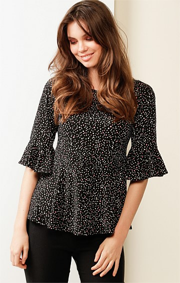 POPPING CANDY 3/4 SLEEVE STRETCH JERSEY TOP IN BLACK PINK IVORY SPOT PRINT