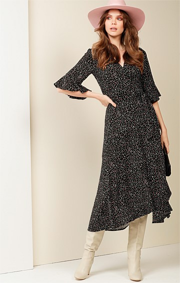 MUSK STICK STRETCH JERSEY V-NECK A-LINE MIDI WRAP DRESS IN BLACK PINK IVORY SPOT PRINT