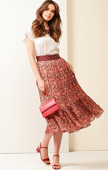 GREEN MANSIONS ELASTICATED WAIST A-LINE MIDI SKIRT IN PINK FOLK FLORAL PRINT