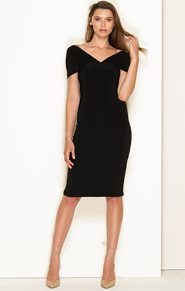 CARMEN STRETCH JERSEY V-NECK SLIP DRESS IN BLACK