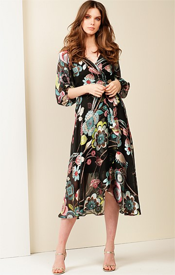 SARAH BISHOP SLEEVE V-NECK A-LINE SILK BURNOUT WRAP DRESS IN BLACK FLORAL