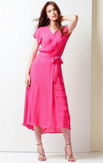 LOVE IN THE AFTERNOON CAP SLEEVE V-NECK A-LINE MIDI DRESS IN PINK SELF STRIPE