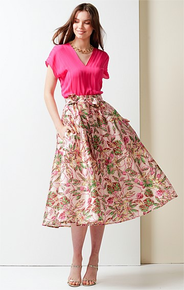 ROMAN HOLIDAY ELASTICATED WAIST A-LINE MIDI SKIRT IN PINK FLORAL PRINT