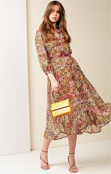 ROSTOVA 3/4 SLEEVE V-NECK A-LINE MIDI DRESS IN PINK GOLD ANIMAL PRINT