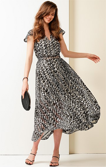 SOUTHBANK CAP SLEEVE V-NECK A-LINE MIDI DRESS IN BLACK WHITE ANIMAL PRINT