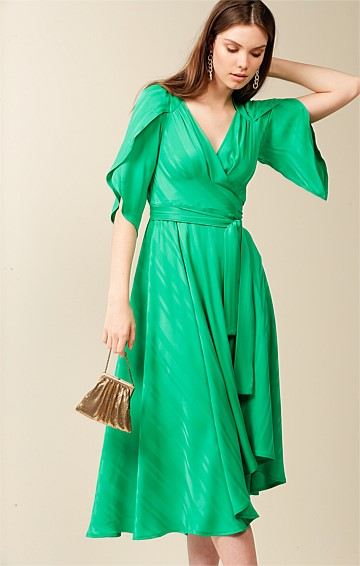 LA FAVORITA V-NECK SPLIT SLEEVE A-LINE MIDI WRAP DRESS IN LUSH GREEN SELF STRIPE