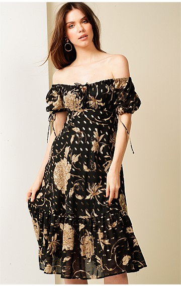 HOTEL DE PARIS PUFF CAP SLEEVE A-LINE KNEE-LENGTH COTTON DRESS IN BLACK GOLD LEAF PRINT