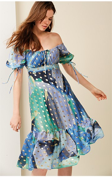 HOTEL DE PARIS PUFF CAP SLEEVE A-LINE KNEE-LENGTH COTTON DRESS IN BLUE SEA LEAF PRINT