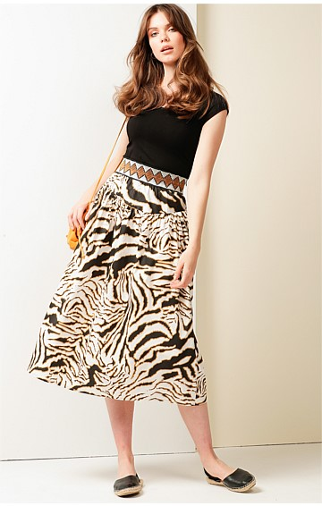 GAZZARA HIGH WAIST ELASTICATED BELT MIDI A-LINE SKIRT IN WHITE TIGER PRINT