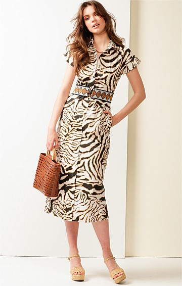 LANCASTER CAP SLEEVE V-NECK A-LINE MIDI SHIRTMAKER DRESS IN WHITE TIGER PRINT