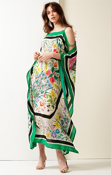 LOVE AMONG THIEVES LOOSE-FIT BOAT-NECK SILK MIDI KAFTAN IN SCARF PRINT