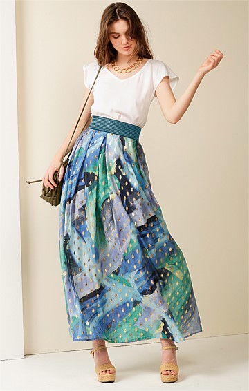 BALLET RAMBERT HIGH WAIST ELASTICATED BELT A-LINE MAXI SKIRT IN BLUE SEA GOLD LEAF PRINT