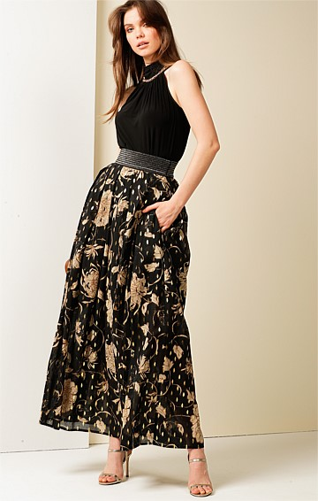 RIVER CITY HIGH WAIST ELASTICATED BELT A-LINE MAXI SKIRT IN BLACK GOLD LEAF PRINT