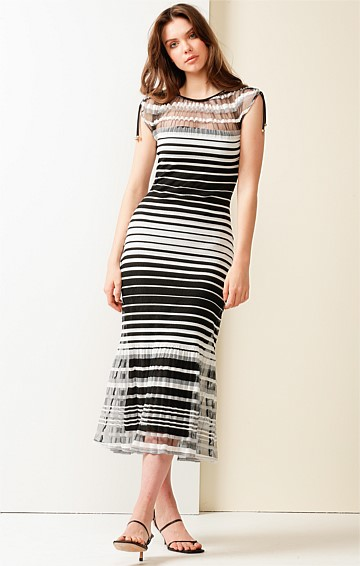 SABRINA FITTED BOAT-NECK CAP SLEEVE MIDI DRESS IN BLACK STRIPE MESH