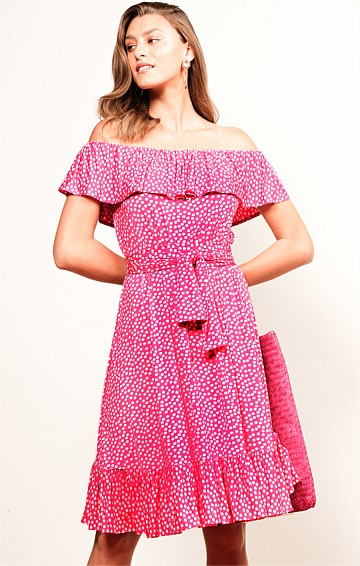 LAUGHTER IN PARADISE OFF THE SHOULDER FRILL STRETCH JERSEY MIDI DRESS IN CANDY SPOT PRINT