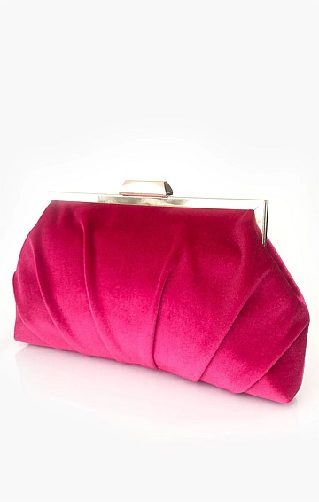 PLEATED VELVET FRAME CLUTCH WITH STRAP IN PINK